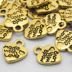 """12mm """"made with love"""" Heart Charm - Antique Gold Tone - Pack of 10"""