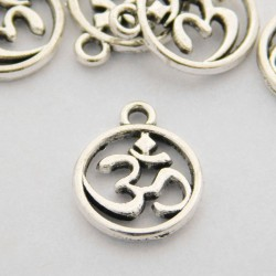 15mm Ohm Charm - Antique Silver Tone - Pack of 8