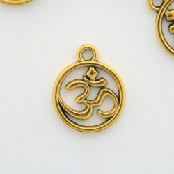 15mm Ohm Charm - Antique Gold Tone - Pack of 8