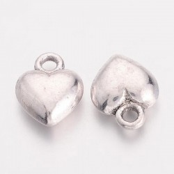 11mm Heart Charm - Antique Silver Tone - Pack of 10