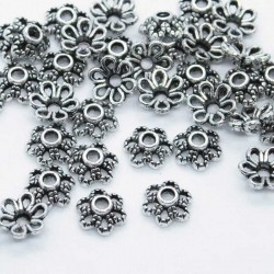 6mm Bead Cap - Antique Silver Tone Flower - Pack of 50