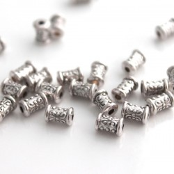 7mm Tube Beads Antique Silver Tone - Pack of 25