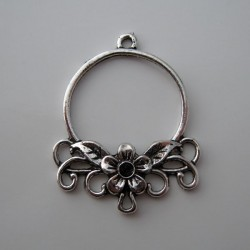 Silver Tone Flower Pendant Connectors