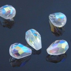 10mm Fire Polished Czech Glass Drops - Crystal AB - Pack of 10