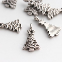 21mm Christmas Tree Charm - Antique Silver Tone - Pack of 10