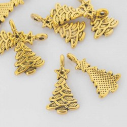 21mm Christmas Tree Charm - Antique Gold Tone - Pack of 10