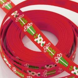 10mm Grosgrain Ribbon - Red 'Presents' - 3 metres