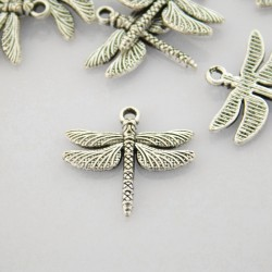 17mm Dragonfly Charm - Antique Silver Tone - Pack of 10