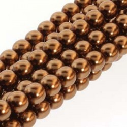 6mm Czech Glass Pearl Beads - Antique Gold - Pack of 75