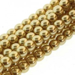 6mm Czech Glass Pearl Beads - Gold - Pack of 75