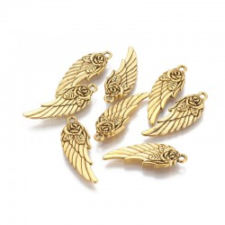 31mm Wing with Flower Charm - Antique Gold Tone - Pack of 1