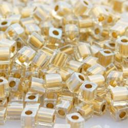 Miyuki Cube Beads 4mm - Sparkle Metallic Gold Lined Crystal - 10g