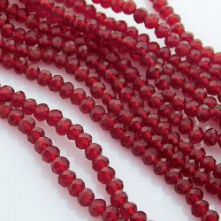 3mm x 4mm Crystal Glass Rondelles - Dark Red - 42cm strand