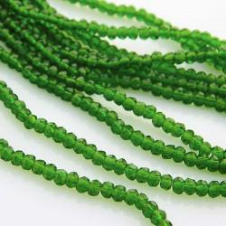 2mm x 3mm Crystal Glass Rondelles - Green - 40cm strand