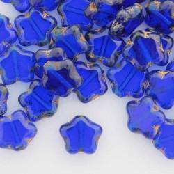 8mm Czech Table Cut Stars - Cobalt Travertine - Pack of 10
