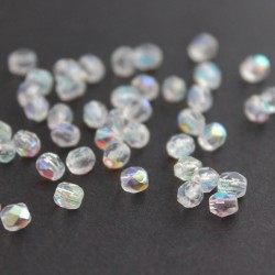 4mm Fire Polished Czech Glass Beads - Crystal AB - Pack of 50