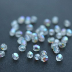3mm Fire Polished Czech Glass Beads - Crystal AB - Pack of 50