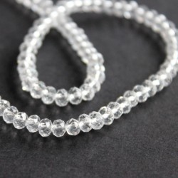 3mm x 4mm Crystal Glass Rondelles - Clear - 43cm strand