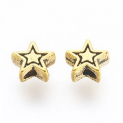 6mm Antique Gold Tone Star Beads - Pack of 40