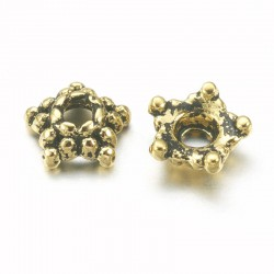 5.5mm Antique Gold Tone Bead Cap - Star Shape - Pack of 50