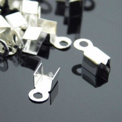 9mm x 4mm Fold Over Cord Ends - Silver Plated - Pack of 50