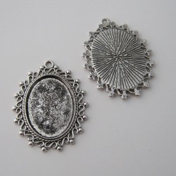 Oval Cabochon Settings - Antique Silver Tone