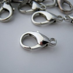 14mm Lobster Clasp - Silver Tone - Pack of 10