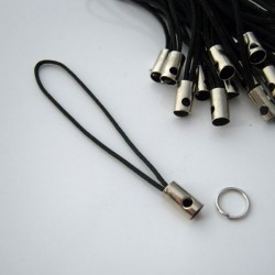 Mobile Phone Charm Cords - Black - Pack of 30