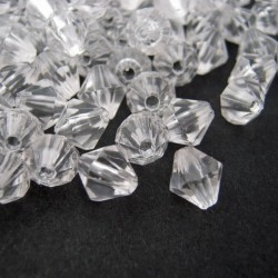 8mm Acrylic Bicone Beads - Clear