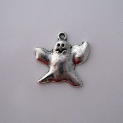 23mm Ghost Charms - Antique Silver Tone - Pack of 5