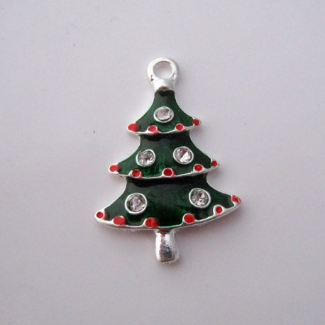 Christmas Tree Enamel and Rhinestone Charm