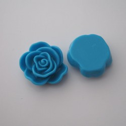 Large Resin Flower Cabochons - Sky Blue