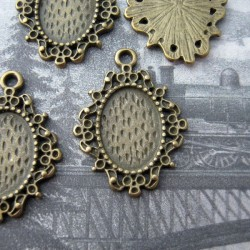 Antique Bronze Tone Cabochon Frames