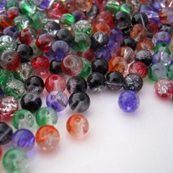 4mm Crackle Glass Beads - Halloween Mix