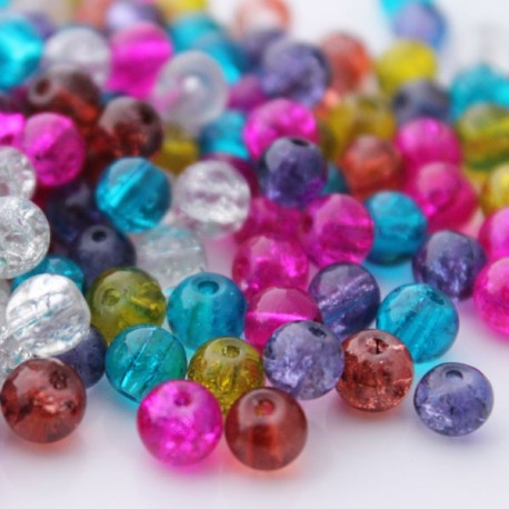 6mm Crackle Glass Beads - Mixed Colours