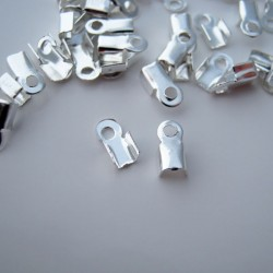 6mm x 3mm Fold Over Cord Ends - Silver Plated - Pack of 100