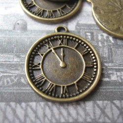 BRONZE Tone CLOCK Charms