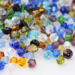 6mm Crystal Glass Bicone Beads - Mixed Colours