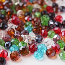 8mm x 6mm Crystal Rondelle Beads - Mixed Colours