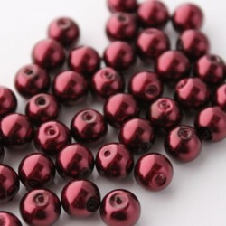 8mm Value Glass Pearl Beads Burgundy Red - Pack of 50