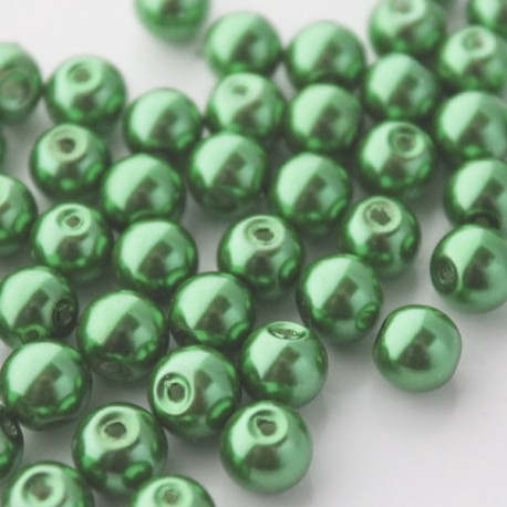 8mm Glass Pearl Beads - Green