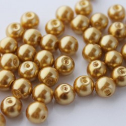 8mm Glass Pearl Beads - Light Gold