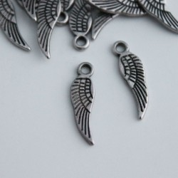 17mm Small Angel Wing Charm - Antique Silver Tone