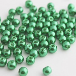 6mm Glass Pearl Beads Green