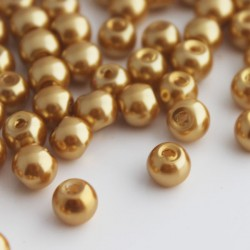 6mm Glass Pearl Beads Light Gold