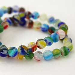 Millefiori 6mm Round Multi Coloured Beads