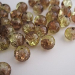 8mm Light Brown and Straw Yellow Crackle Beads