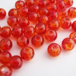 6mm Crackle Glass Beads - Red & Orange - Pack of 100