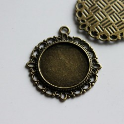 2 Round Bronze Tone Cabochon Settings