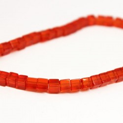 4mm Polished Glass Cube Beads - Light Red